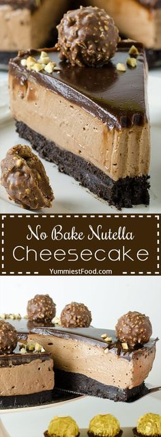 christmasrecipes christmas recipes NO BAKE NUTELLA CHEESECAKE - Easy, rich and decadent, this cheesecake makes a beautiful, elegant and easy Ferrero Rocher Cheesecake Recipe for any special occasion! bake desserts No Bake Nutella Cheesecake Nutella Fudge, No Bake Nutella Cheesecake, Desserts Nutella, Chocolate Cheesecake Recipes, Baked Cheesecake Recipe, Nutella Recipes, Mini Desserts, No Bake Desserts, Dessert Recipes