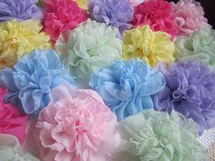 Soft romantic fabric flowers large chiffon fabric by darlyndax, $7.00