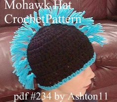Mohawk Hat Crochet Pattern PDF 234 childrens and adult by ashton11, $4.99