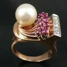 14K Retro Rose Gold Ruby, Diamond and Cultured Pearl Ring - Fabulous