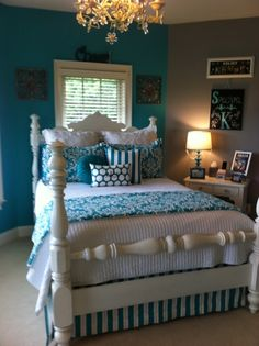 Turquoise Teen Room Makeover | Sorority and Dorm Room Bedding
