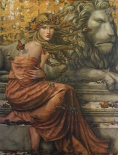 Changing Season by Lauri Blanke visualization for Strength Tarot Card Woman Painting, Figure Painting, Strength Tarot, Schools In Nyc, Deviant Art, Female Art, Illustration Art, Fine Art, Drawings