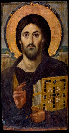 Christ, from St Catherine's Monastery at Mount Sinai./ Jesus of Nazareth, is the central figure of Christianity, whom the teachings of most Christian denominations hold to be the Son of God. Christianity holds Jesus to be the awaited Messiah of the Old Testament and refers to him as Jesus Christ, a name that is also used in non-Christian contexts.