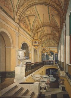 Interiors of the Winter Palace. The Winter Garden of Empress Alexandra Fyodorovna by Edward Petrovich Hau - Architecture, Interiors Drawings from Hermitage Museum