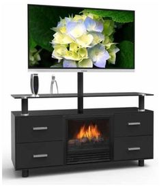 TV Stand Fireplace Electric Flame Heater Media Entertainment Center Console New