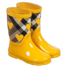 Burberry Girls Yellow Wellies with House Check & Hearts at Childrensalon.com