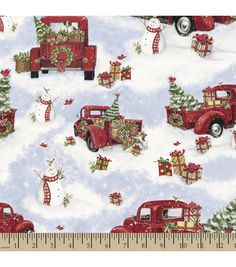 Susan Winget Holiday Insporations Fabric Red Truck Christmas