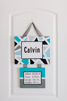 Modern Birth Announcement Sign - love it displayed on a nursery door once you're home from the hospital!