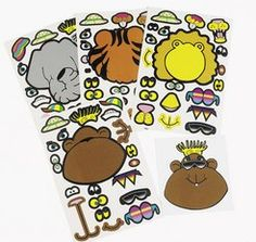 Make Your Own! Zoo Animal Stickers (4).  Zoo, jungle and safari themed parties are more fun when you add these stickers!  Kids can make their own zoo animals with these fun sticker images. Each sheet contains 20 stickers. 2cm - 9cm