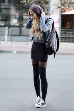 Jeans Jacket  Black Tight  Converse  Except for the skirt