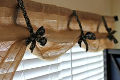 Burlap kitchen curtains are an interesting addition to shabby chic, primitive, country, or ecological decoration. Diy Curtains, Kitchen Window Treatments, Burlap, Burlap Window Treatments, Burlap Kitchen, Cheap Curtains, Cabin Kitchens, Burlap Curtains Kitchen, Rustic Window