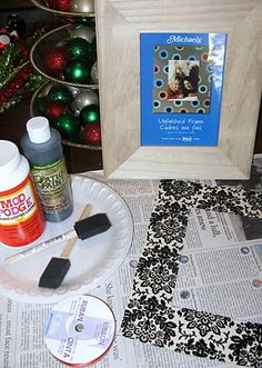 Mod Podged picture frame. Perfect for those cheap wooden frames. Great idea for Christmas decor or gifts. Or cover the mat in scapbook paper for matching their home decor! Cute!