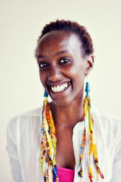 Beautiful Soko artisan Vanessa wearing her own creations! Vanessa loves creating colorful pieces. #shopsoko #ethicalfashion #artisans #handmade #jewerly #kenya #africa
