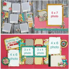 """Like the """"polaroid"""" frames on the top one and the simple patterned paper scraps on the bottom."""