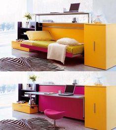 cama abatible, convertible en escritorio, de la firma Clei