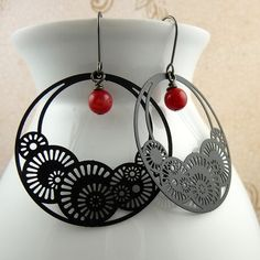 Fan dance asian inspired black and red earrings by musettemade