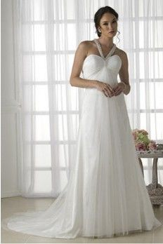 Chiffon Fabric Halter Neckline Sheath/Column With Beading And Rhinestone Decoration Wedding Dress
