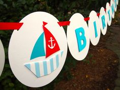Nautical Sailor Themed HAPPY BIRTHDAY Banner by BubblyNewYork, $31.95