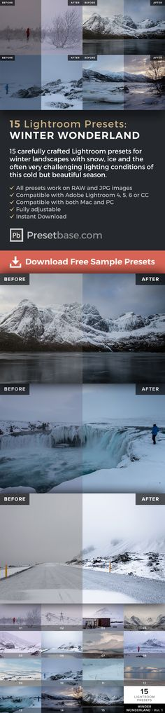 15 Adobe Lightroom Presets for Winter Landscapes (Iceland, Scandinavia, Norway, Finland, Sweden, Greenland, Canada ...) for only $9 – Instant Download on @creativemarket