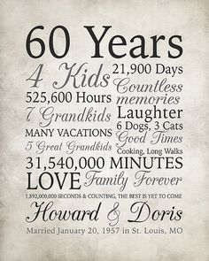 Anniversary Gift 60 Years Married or Any Year Gift for Grandma and Grandpa Grandparents Anniversary Parents Diamond Gray Sign 60th Anniversary Parties, 60 Wedding Anniversary, Parents Anniversary, Anniversary Decorations, Anniversary Quotes, Diamond Anniversary, Anniversary Ideas, Wedding Aniversary, Anniversary Funny