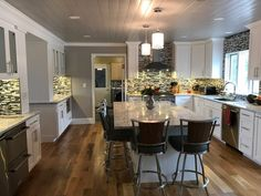 Modern Random Mix Steel - Glass II Tile for Backsplash & Wall Fireplace Surrounds, Fireplace Design, Tile Installation, Kitchen Photos, Black Stainless Steel, Bathroom Wall, Kitchen Backsplash, Mosaic Tiles, Design Ideas