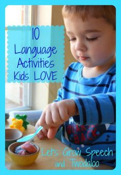 10 Language Activities Kids Love: Guest Post by Speech Therapists Katie (Let's Grow Speech) and Stephanie (Twodaloo) at Frogs and Snails and Puppy Dog Tails (FSPDT) Kids Learning Activities, Speech Therapy Activities, Speech Language Pathology, Language Activities, Speech And Language, Preschool Activities, Toddler Learning, Language Development, Language Arts