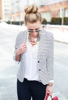 How to Dress at a Startup: layering pearls and a statement necklace