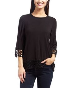 Look what I found on #zulily! Black Front Row Scoop Neck Top #zulilyfinds
