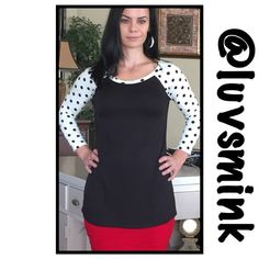 BLACK & IVORY POLKA DOT TOP - LARGE NWT $25 Great for a casual game day, or throw it on with your favorite jeans. Dolman sleeves for a comfortable fit, side split like a jersey, but made of 95/5 Rayon/Spandex.  Available in Small, Medium, and Large. No holds or trades; price is firm, unless bundled.  THIS LISTING IS FOR A LARGE, NWT Brenda's Tops