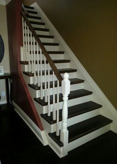 Staircase remodel ... Converted old ugly carpeted stairs into this gorgeous hardwood staircase