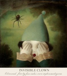 stephenmackey:  Invisible Clown 'Oil on Wood, five by five inches' stephenmackey.com/ingofincke.com