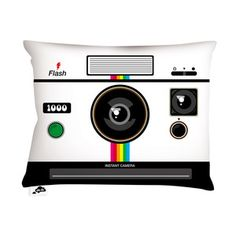 Instant Camera Pillow 20x14, $45, now featured on Fab. I would get hit with something hard if I purchased these for the living room but I am tempted
