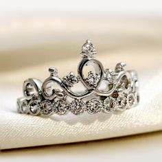 Graceful Crown Style 925 Silver Ring Cubic Zirconia Features Unique Birthday Gift for Friend http://www.jewelsin.com/p-graceful-crown-style-925-silver-ring-254