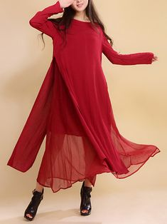 Women Vintage O-Neck Long Sleeve Wine Red Double Layered Maxi Dress