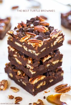 The Best Turtle Brownies  by averiecooks: Super fudgy and loaded with chocolate, pecans and caramel. #Brownies #Turtle