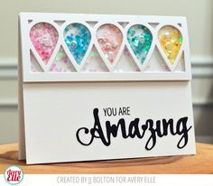 JJ Bolton for Avery Elle shaker card using our Simply Said Amazing stamps and dies and our Petal Plate Dies.