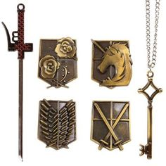 Vintage Shingeki no Kyojin Necklace Brooch Sword Jewelry Set