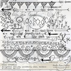 Gimme Scribbles Fabulous everyday scribbles which add so much dimension and interest to backgrounds and elements, creating the personal hand-made touch.   #scribbles #handmade #visualartmediabundle #dawninskip #scrapbookgraphics