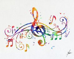Illustrazioni di nota Art Prin Watercolor Musical di PainterlyDots