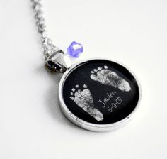 Mother's+Necklace+Your+Baby's+ACTUAL+Footprints+by+Metamorphosis07,+$25.00