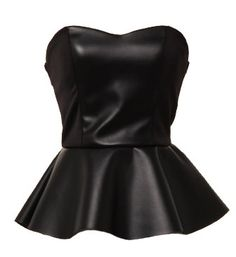 Leatherette Tube Top: Features a sleek strapless cut balanced with a super cute sweetheart neckline, leatherette panel at front-center for an instant slimming effect, and a flirty peplum waist to finish.