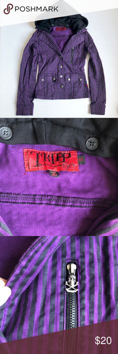 Just in - Tripp NYC Black Purple Striped Blazer With removable Hoodie. Size XS Material is stretchy. A bit small for me. Excellent condition. Tripp nyc Jackets & Coats Blazers