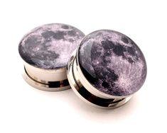 Full Moon Picture Plugs gauges  8g 6g 4g von mysticmetalsorganics, $17.99