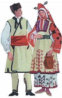 ordinary male costume and festive holiday costume young women from Tran Bulgaria