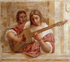 Italian School century) - Woman Playing the Guitar Guitar Painting, Music Painting, Guitar Art, Art Music, Paintings Famous, Famous Artists, Renaissance Music, Baroque Art, Italian Art