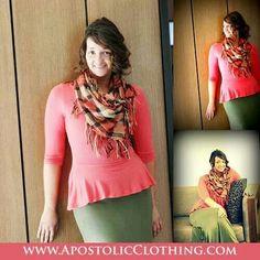 Modest Tops: Half sleeve peplum blouse and solid maxi skirt - Apostolic Clothing