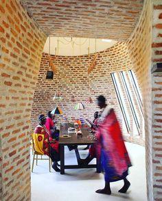 "Maasai craft studio at Angama Mara, Kenya. African architecture and design inspired by a small, narrow Dutch brick known us ""Klompie bricks"". African Design, Bauhaus, Bricks, Kenya, Dutch, Spaces, Inspired, Studio, Architecture"