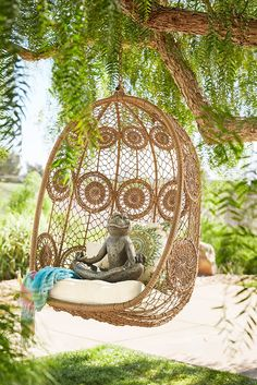 Everyone loves hanging out in a Pier 1 Swingasan® chair. We've given La Fleur a lighthearted twist by weaving our synthetic rattan in a delicate lace-like pattern. The weather- and rust-resistant metal frame allows it to be enjoyed inside or out.