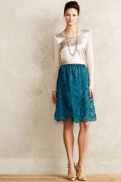 This skirt.  For the color and the intricate vintage-y lace.  Blossomed Aubrieta Skirt #anthropologie