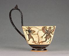 Ladle with Perseus Chasing Gorgons (Getty Museum)  Attributed to the Theseus Painter   Greek, Athens, about 510 - 500 B.C.   Terracotta   5 13/16 x 3 1/16 to 3 1/8 in.
